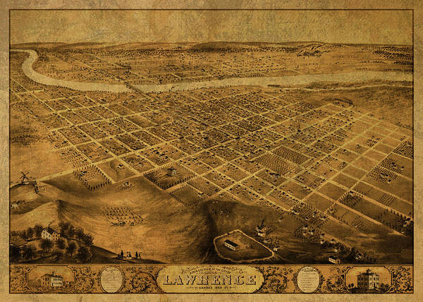 Wall Art - Mixed Media - Lawrence Kansas Vintage City Street Map 1869 by Design Turnpike