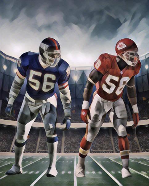 Wall Art - Mixed Media - Lawrence Taylor New York Giants And Derrick Thomas Kansas City Chiefs Abstract Art 1 by Joe Hamilton
