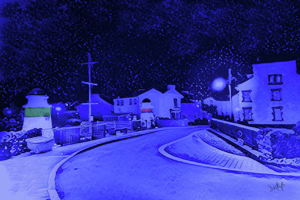 Wall Art - Digital Art - Laxey New Bridge In Snow by Digital Painting