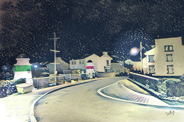 Wall Art - Digital Art - Laxey New Bridge On A Winter's Night by Digital Painting