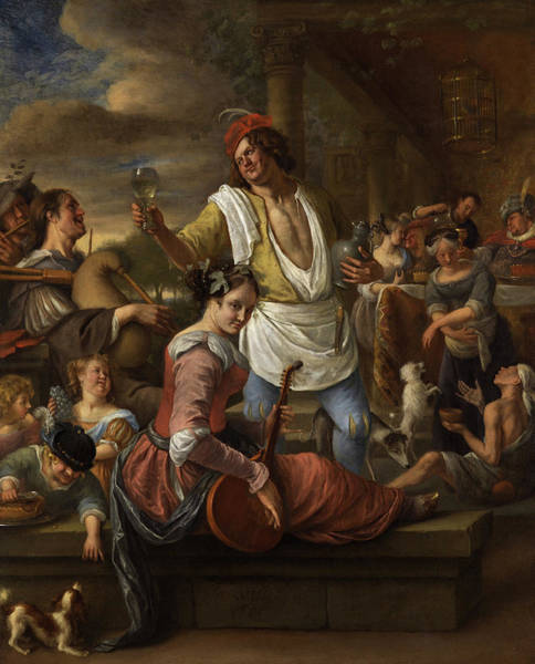 Strum Wall Art - Painting - Lazarus And The Rich Man, In Luxury Beware by Jan Steen