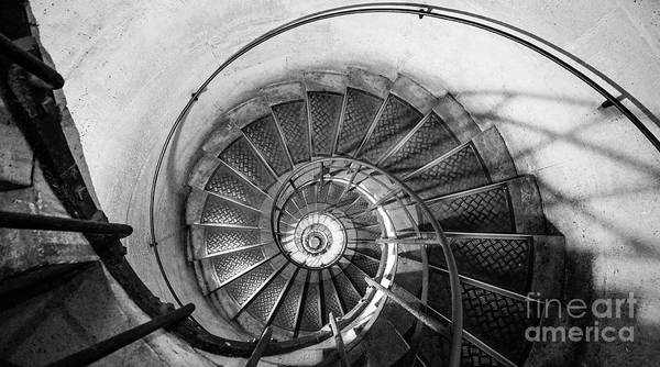 Photograph - Lblack And White View Of Spiral Stairs Inside The Arch De Triump by PorqueNo Studios