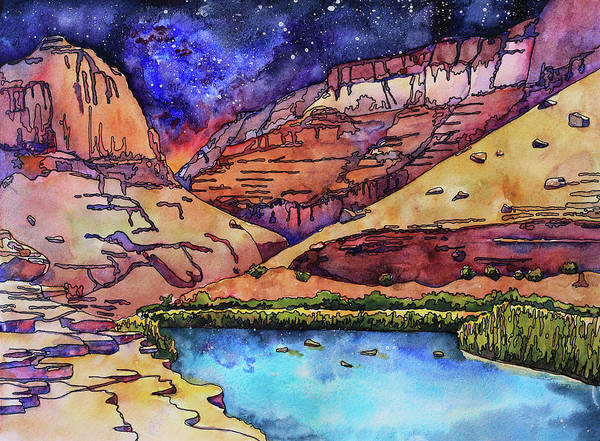 Canyon Mixed Media - Little Colorado River At Night by Stacy Egan