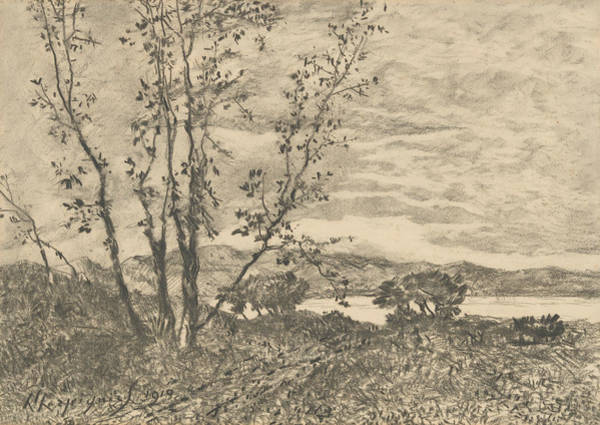 Drawing - Le Cap Martin by Henri Harpignies