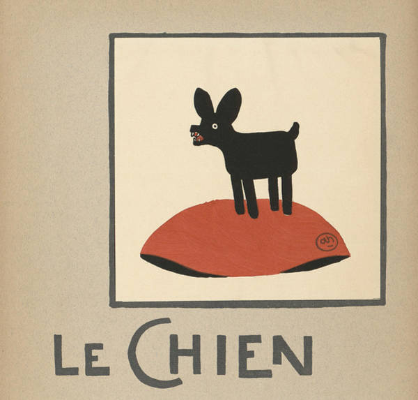 Horizontal Digital Art - Le Chien Illustration by Graphicaartis