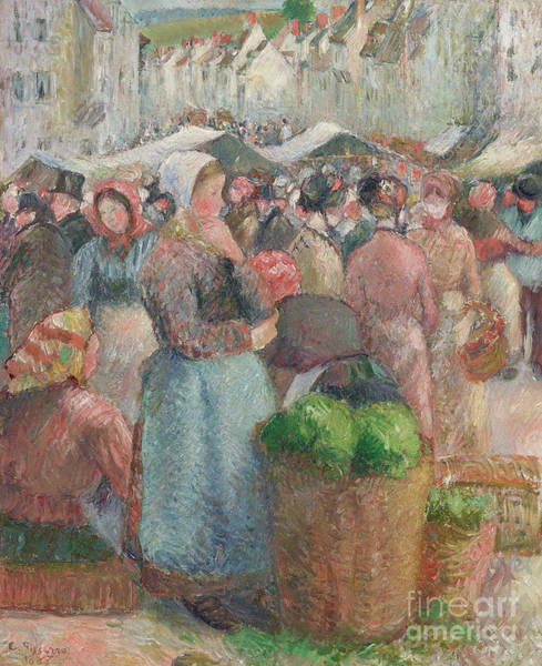 Wall Art - Painting - Le Marche De Gisors, Grande Rue, 1885 by Camille Pissarro