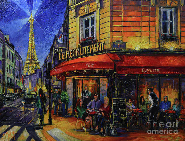 Wall Art - Painting - Le Recrutement Cafe Paris by Mona Edulesco