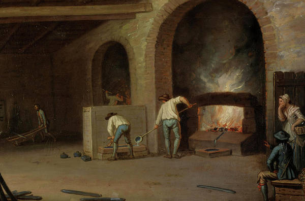 Lead Mine Wall Art - Painting - Lead Processing At Leadhills - Smelting The Ore by David Allan
