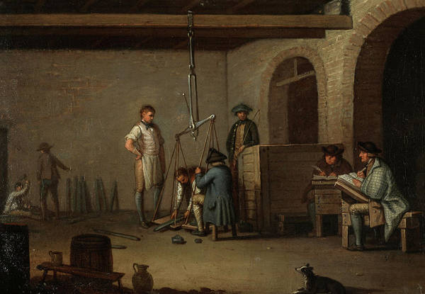 Lead Mine Wall Art - Painting - Lead Processing At Leadhills- Weighing The Lead Bars by David Allan