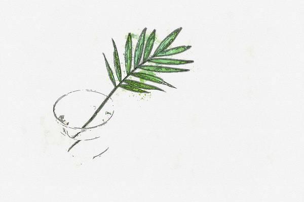 Painting - Leaf And Vase -  Watercolor By Ahmet Asar by Ahmet Asar
