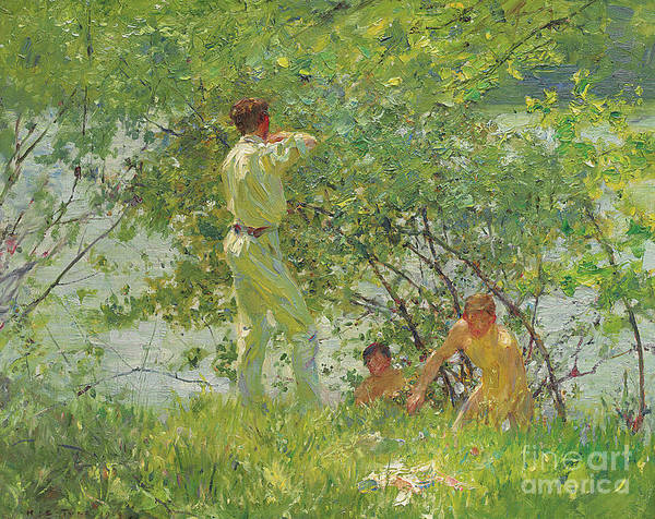 Wall Art - Painting - Leafy June, 1909 by Henry Scott Tuke