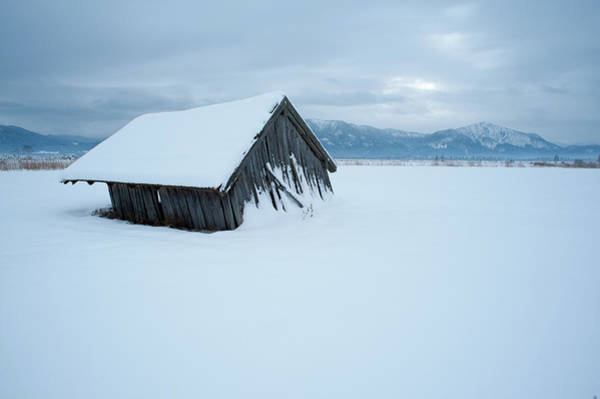 Barn Photograph - Leaning Barn In Front Of Alps In Winter by Olaf Broders