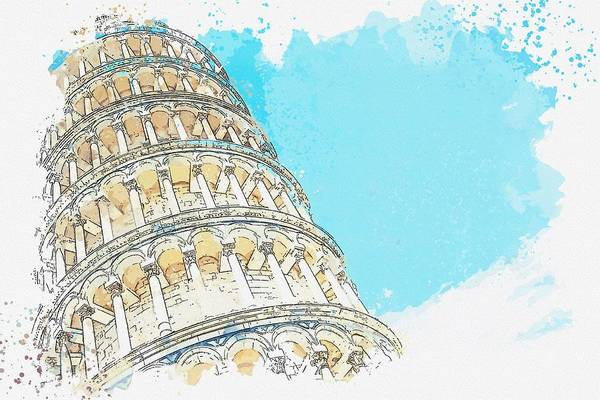 Wall Art - Painting - Leaning Pizza Tower, Italy Watercolor By Ahmet Asar by Ahmet Asar