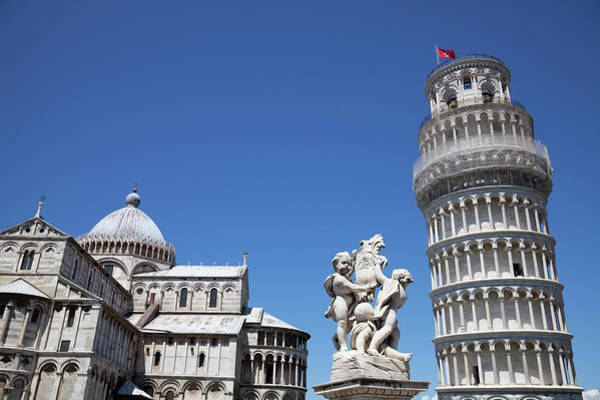 Putto Photograph - Leaning Tower Of Pisa, Duomo And Statue by Martin Child