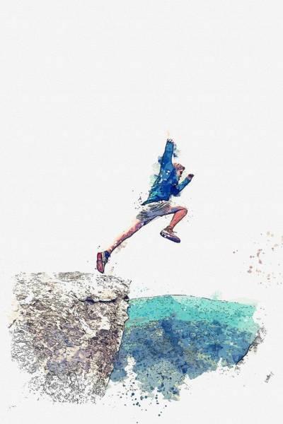 Painting - Leap Of Faith Watercolor By Ahmet Asar by Ahmet Asar