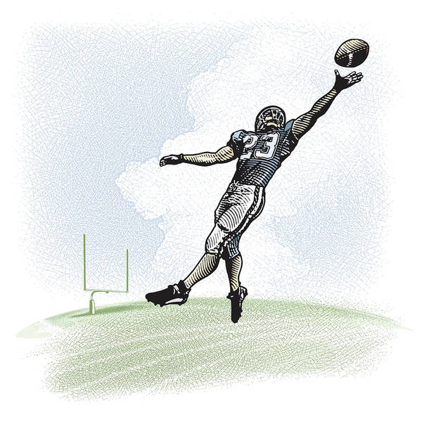 Football Helmet Digital Art - Leaping Catch by George Peters