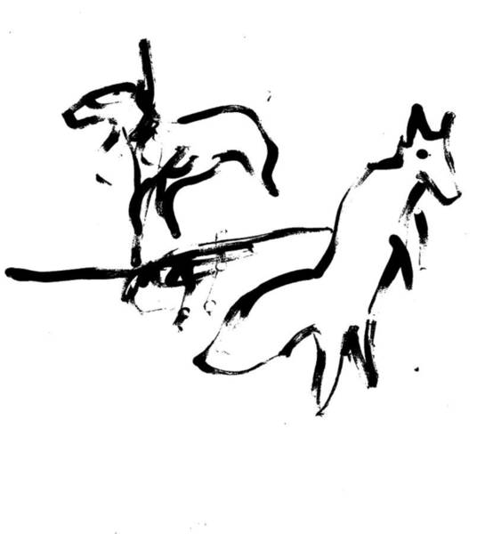 Wall Art - Drawing - Leaping Fox by Artist Dot
