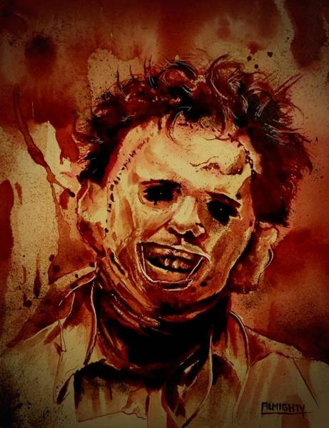 Serial Killer Painting - Leatherface Fresh Blood by Ryan Almighty