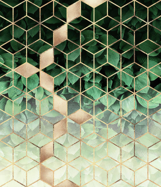 Wall Art - Digital Art - Leaves And Cubes by Elisabeth Fredriksson