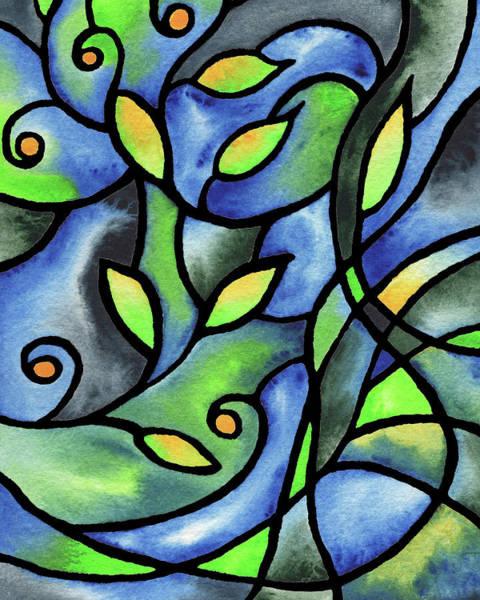 Wall Art - Painting - Leaves And Curves Art Nouveau Style I by Irina Sztukowski