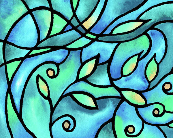 Wall Art - Painting - Leaves And Curves Art Nouveau Style II by Irina Sztukowski
