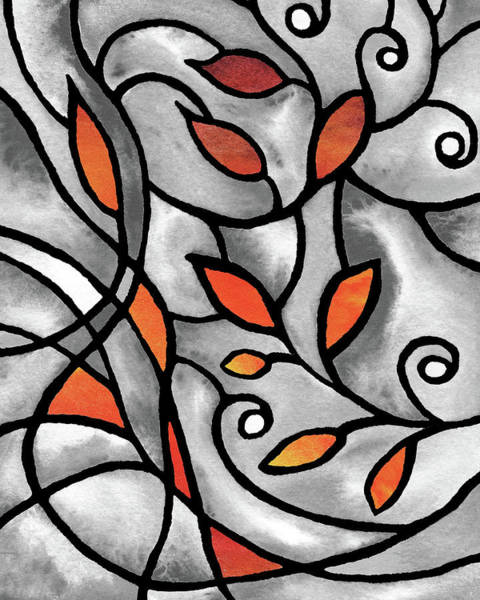 Painting - Leaves And Curves Art Nouveau Style IIi by Irina Sztukowski