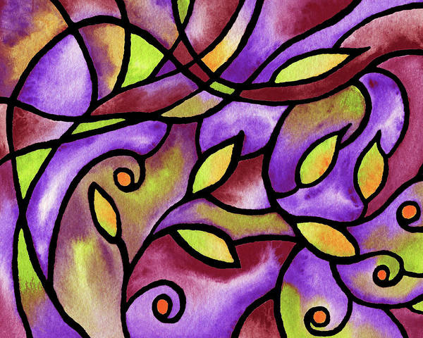 Painting - Leaves And Curves Art Nouveau Style Iv by Irina Sztukowski