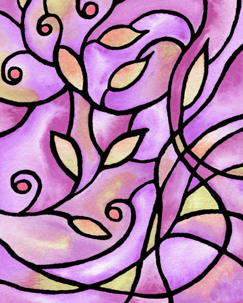 Wall Art - Painting - Leaves And Curves Art Nouveau Style Vi by Irina Sztukowski