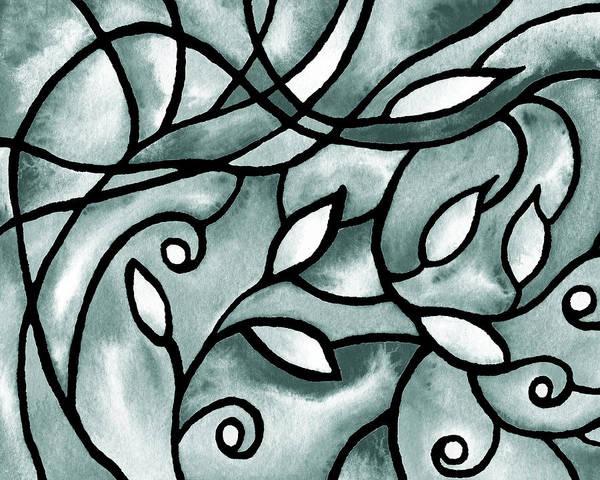 Painting - Leaves And Curves Art Nouveau Style Vii by Irina Sztukowski