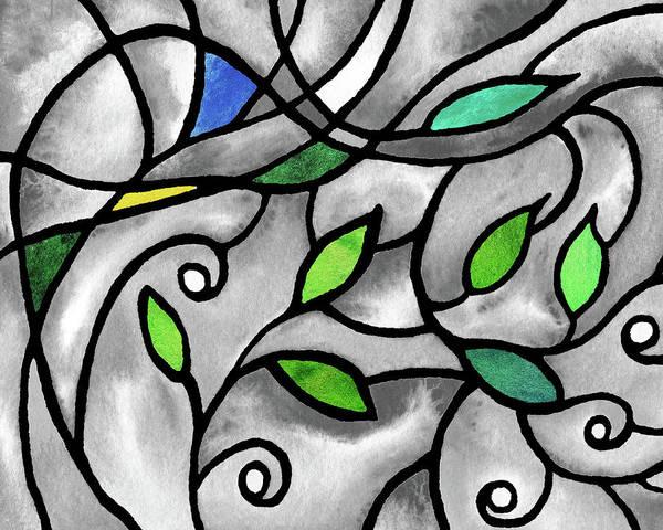 Wall Art - Painting - Leaves And Curves Art Nouveau Style Viii by Irina Sztukowski