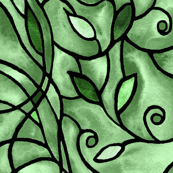 Painting - Leaves And Curves Art Nouveau Style X by Irina Sztukowski