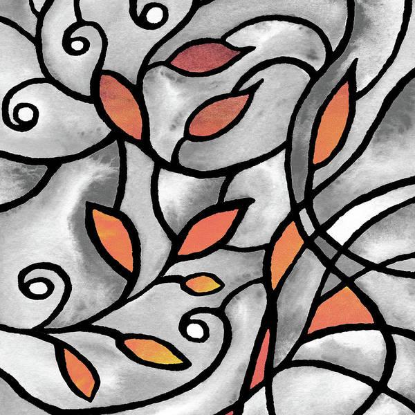 Wall Art - Painting - Leaves And Curves Art Nouveau Style Xii by Irina Sztukowski