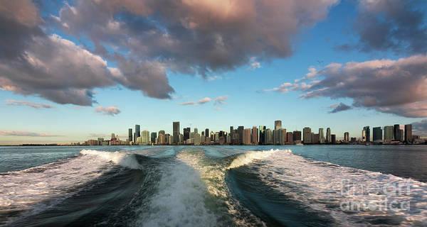 Wall Art - Photograph - Leaving Miami Boat View by Edie Ann Mendenhall