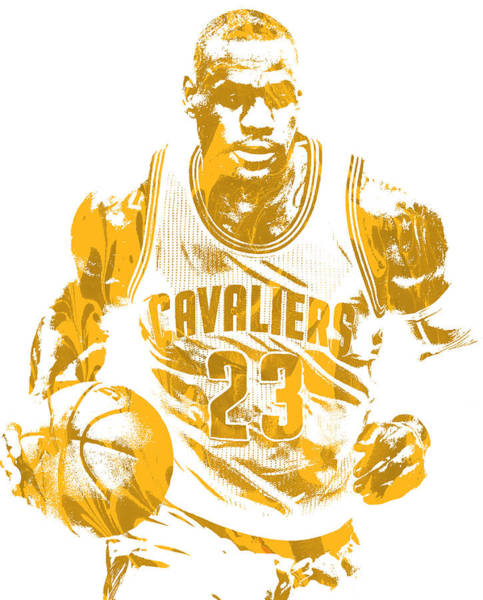 Wall Art - Mixed Media - Lebron James Cleveland Cavaliers Pixel Art 200 by Joe Hamilton