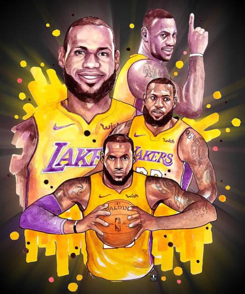 Los Angeles Painting - Lebron James, Lakers by Wachira Kacharat
