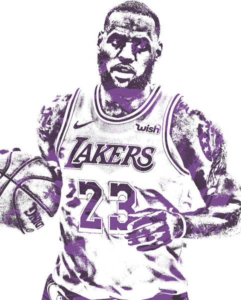 Wall Art - Mixed Media - Lebron James Los Angeles Lakers Pixel Art 200 by Joe Hamilton