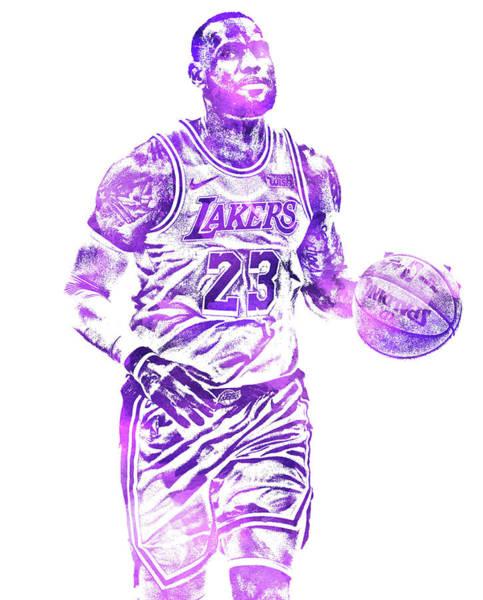 Cross Mixed Media - Lebron James Los Angeles Lakers Water Color Pixel Art 31 by Joe Hamilton