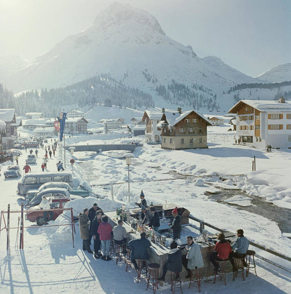 Archival Wall Art - Photograph - Lech Ice Bar by Slim Aarons