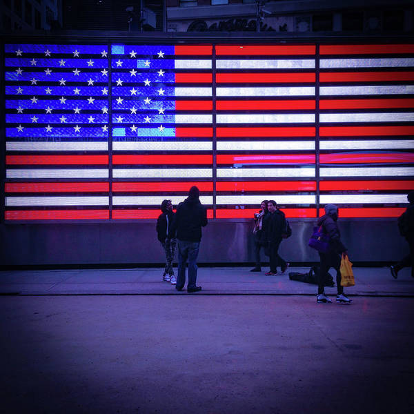 Midtown Photograph - Led American Flag by Michael Gerbino