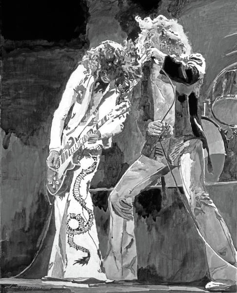 Rock Music Jimmy Page Wall Art - Painting - Led Zep The Gods Of Rock by David Lloyd Glover