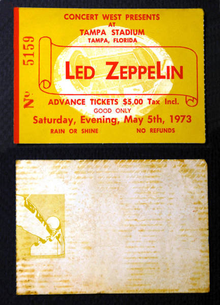Wall Art - Photograph - Led Zeppelin 1973 Concert Ticket by David Lee Thompson