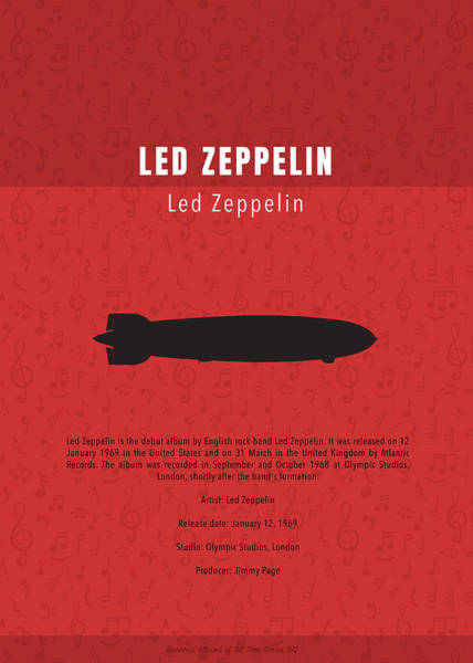 Wall Art - Mixed Media - Led Zeppelin Greatest Albums Of All Time Minimalist Series by Design Turnpike