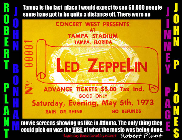 Rock And Roll Jimmy Page Wall Art - Mixed Media - Led Zeppelin Tampa Stadium 1973 Concert by David Lee Thompson