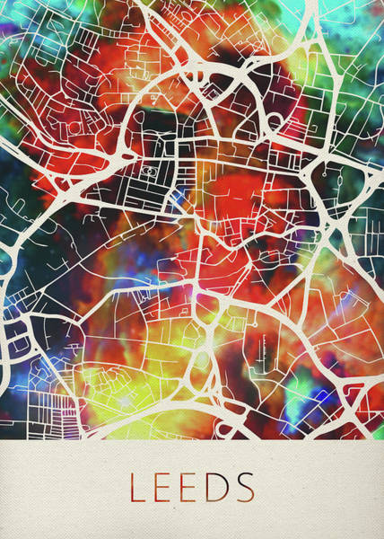 England Mixed Media - Leeds England United Kingdom Watercolor City Street Map by Design Turnpike