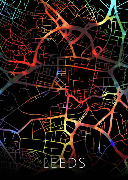 England Mixed Media - Leeds England Watercolor City Street Map Dark Mode by Design Turnpike