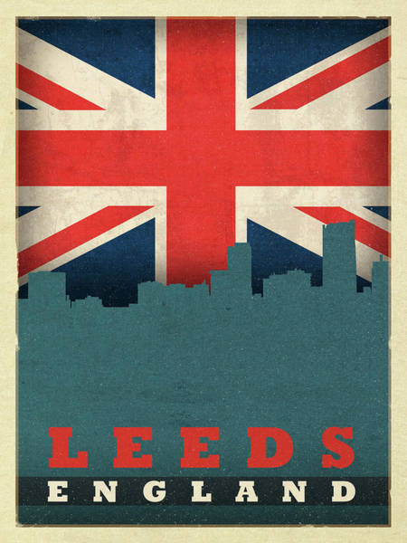 Wall Art - Mixed Media - Leeds England World City Flag Skyline by Design Turnpike