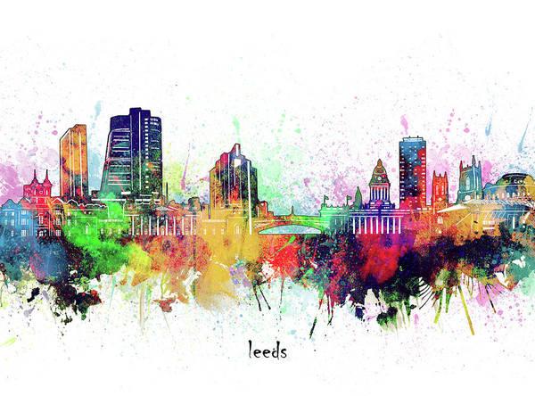 Wall Art - Digital Art - Leeds Skyline Artistic by Bekim M