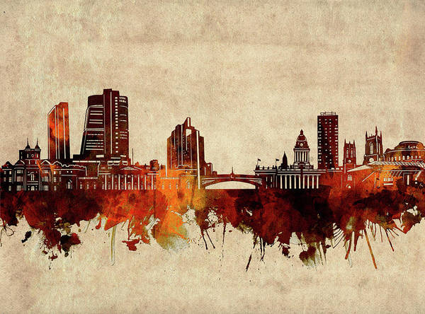 Wall Art - Digital Art - Leeds Skyline Sepia by Bekim M