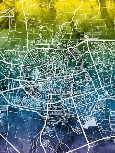 Netherlands Digital Art - Leeuwarden Netherlands City Map by Michael Tompsett