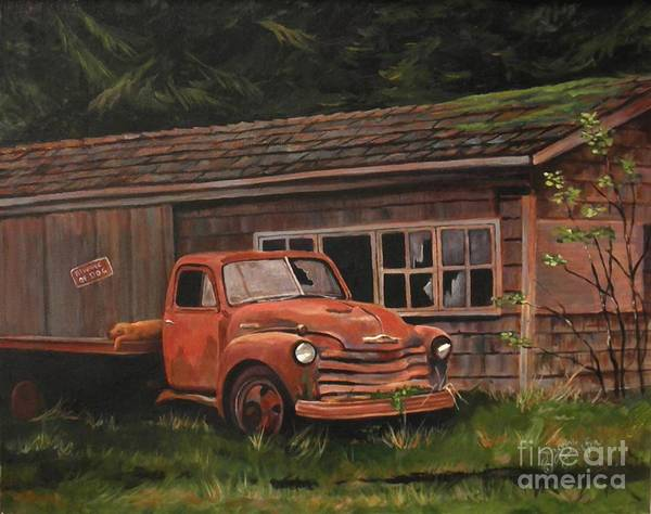 Old Chevy Truck Painting - Left Behind Old Truck by Suzanne Schaefer